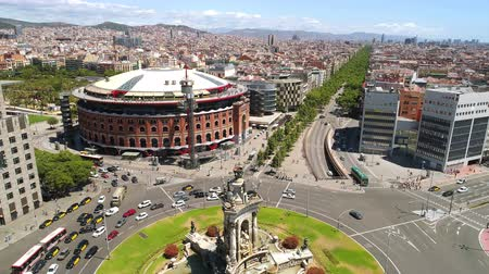 d day : Aerial view of Espanya square Barcelona, Spain.