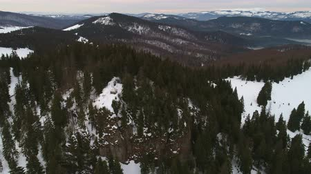Aerial view above mountains, winter time