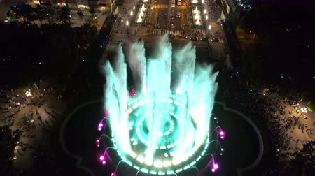Aerial view of Magic Fountain in the night, Barcelona, Spain
