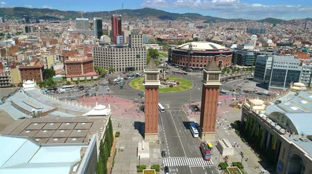 Aerial view of Espanya square Barcelona Spain, sunny summer day