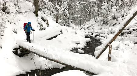Woman crossing river on log bridge in mountains, winter time