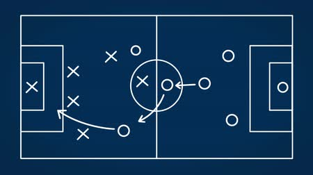 beyaz tahta : Interactive whiteboard diagrams of soccer strategies Stok Video