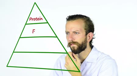 piramit : Man looking at a food pyramid diagram