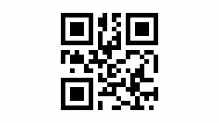 code : Animated sequence with the quick response (QR) code to the word apple being scanned by a generic smart phone