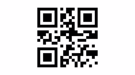 code : Animated sequence with the quick response (QR) code to the word code being scanned by a generic smart phone Stock Footage