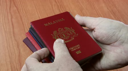pas : Different coloured passports from seven different countries