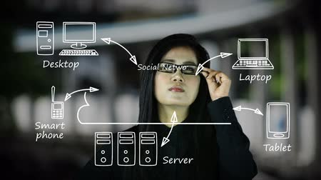 síťování : Asian woman watches a social networking cloud diagram appearing on a monitor