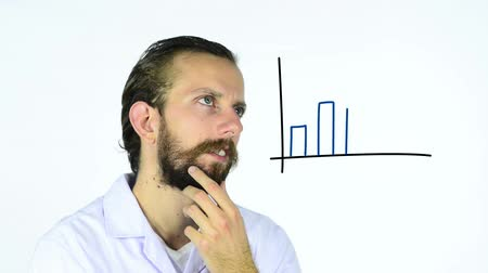 functionality : Man watching an animated graph being draw on an interactive whiteboard