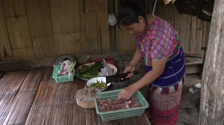 hill tribe : Traditionally dressed Karen hill tribe woman preparing a meal in a village in northern Thailand. Part of a series on hill tribe cooking Stock Footage
