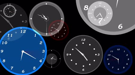 полночь : Layered animated clocks Стоковые видеозаписи