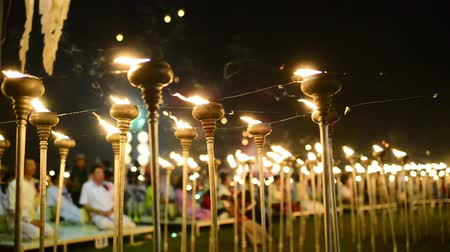 peng : Oil lamps on stands during the Yii Peng festival in Chaing Mai, Thailand