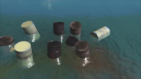 beczka : Toxic waste barrels floating on water