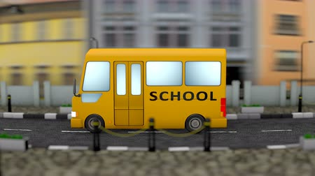 elsődleges : Kid school bus town background. Stock mozgókép