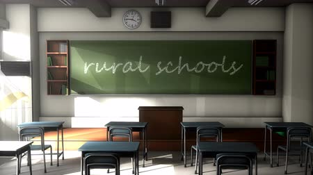 high school : Classroom black board text, Rural school.