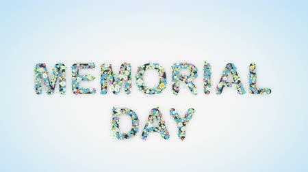 числовой : Memorial Day floral text background animation Стоковые видеозаписи