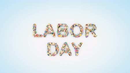 dag van de arbeid : Labor Day floral text background animation Stockvideo