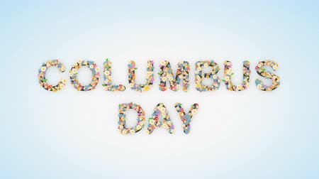 числовой : Columbus Day floral text background animation Стоковые видеозаписи