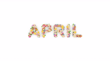 time year : Floral calendar month text animation, April.