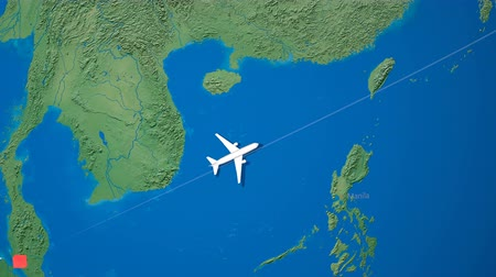 pasaport : Air travel flying route destination, Malaysia Japan. Stok Video