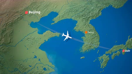 pasaport : Air travel flying route destination, Beijing, Osaka. Stok Video