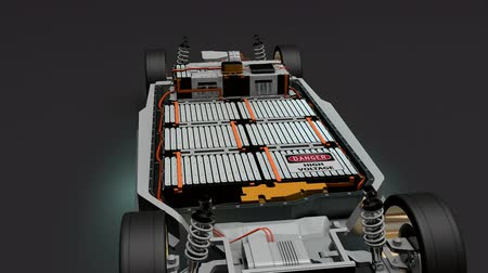 ev : Artist rendering EV battery pack, Electric vehicle Lithium-Ion. Stock Footage