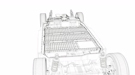 ion : Artist rendering EV battery pack, Electric vehicle Lithium-Ion. Stock Footage