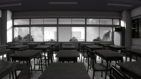 okno : Window view of empty classroom Wideo