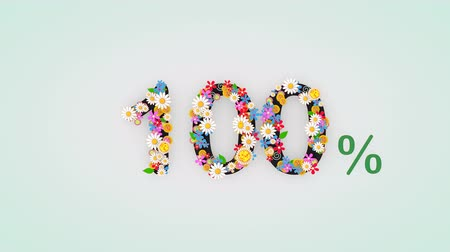 числовой : Numerical digit floral animation, 100 percent. Стоковые видеозаписи