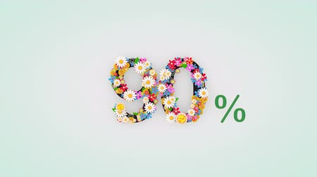 por ciento : Numerical digit floral animation, 90 percent.