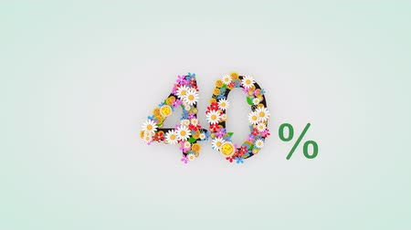 čtyřicátá léta : Numerical digit floral animation,  percent.