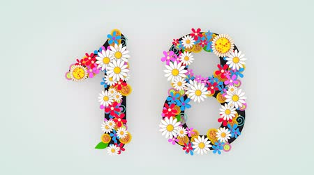 eighteen : Numerical digit floral animation, 18.
