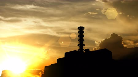 chernobyl : Chernobyl power plant, Russia over sunset, 3d animation.