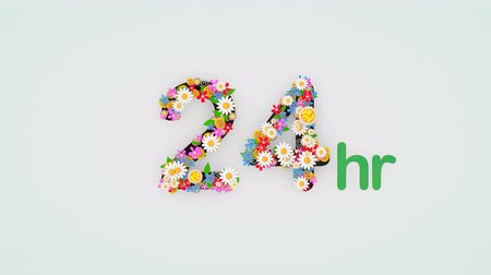 órák : Numerical digit floral animation, 24 hours. Stock mozgókép
