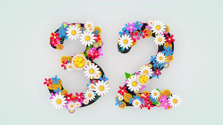 otuzlu yıllar : Numerical digit floral animation, 32.