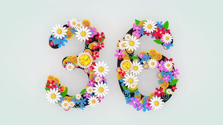 otuzlu yıllar : Numerical digit floral animation, 36. Stok Video