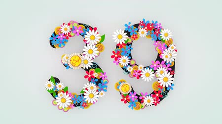 otuzlu yıllar : Numerical digit floral animation, 39. Stok Video
