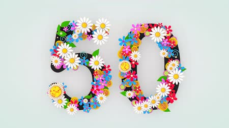 ötvenes : Numerical digit floral animation, 50.