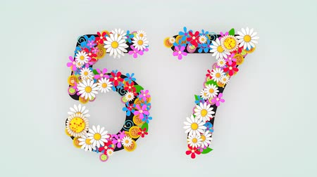 fifty : Numerical digit floral animation, 57. Stock Footage