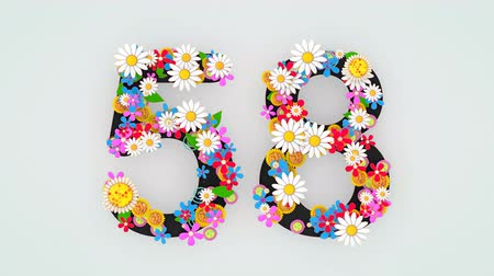 числовой : Numerical digit floral animation, 58.