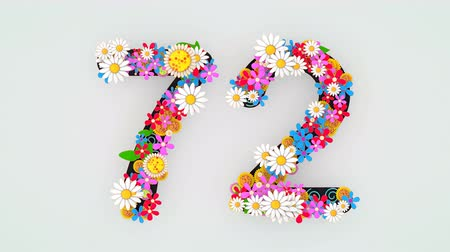 칠십 : Numerical digit floral animation, 72.