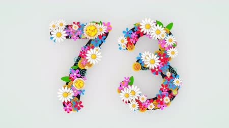 seventy : Numerical digit floral animation, 73.