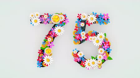 seventy : Numerical digit floral animation, 75.