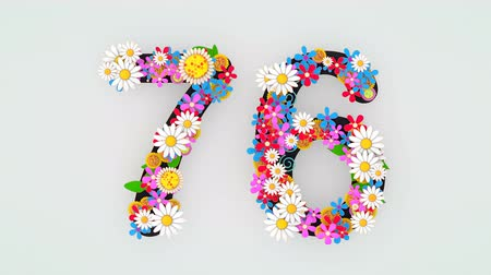 seventy : Numerical digit floral animation, 76.