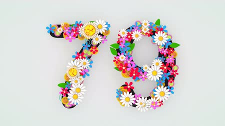 seventy : Numerical digit floral animation, 79.