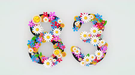 числовой : Numerical digit floral animation, 83.