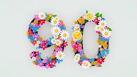 числовой : Numerical digit floral animation, 90.