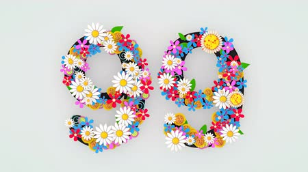 devět : Numerical digit floral animation, 99.