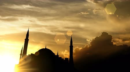 odstín : Hagia Sophia, Turkey over sunset, 3d animation.