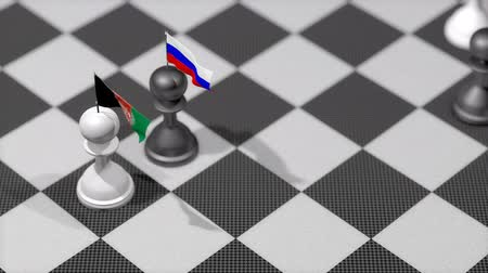 peão : Chess Pawn with country flag, Afghanistan, Russia.