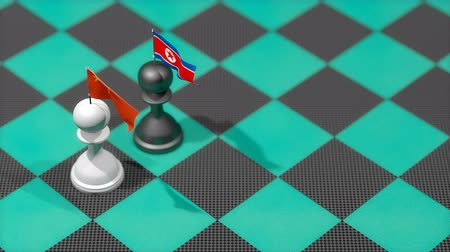 dprk : Chess Pawn with country flag, China, North Korea. Stock Footage